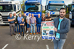 Launching the Truck Run in memory of Hawley O'Sullivan for a Kerry Hospice fundraiser in the Rose Hotel on Saturday.  Front right: Anthony O'Sullivan. Back l to r: Eamon O'Connell, Martin O'Sullivan, Paidi O'Connor, Tom O'Connell, Noel Prenderville, Stephen Hill, Richie Pierce, Richie Ahern, Karen Maher and Gary Long.