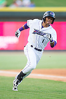 Jacob May (1) of the Winston-Salem Dash rounds third base during the game against the Frederick Keys at BB&T Ballpark on July 29, 2014 in Winston-Salem, North Carolina.  The Dash defeated the Keys 4-0.   (Brian Westerholt/Four Seam Images)
