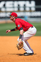 Birmingham Barons first baseman Danny Hayes (9) on defense against the Tennessee Smokies at Regions Field on May 4, 2015 in Birmingham, Alabama.  The Barons defeated the Smokies 4-3 in 13 innings. (Brian Westerholt/Four Seam Images)