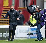 Derek McInnes celebrates the win at full time