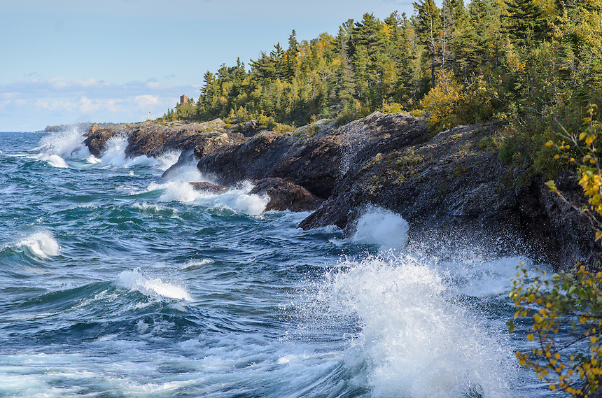 Waves on Lake Superior crashing along the rocky shoreline in the tip of Keweenaw Peninsula - Copper Harbor, MI.