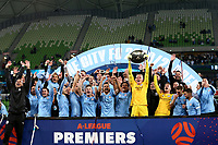 22nd May 2021, Melbourne, Australia;  Melbourne City hold up the Premier's Plate after the Hyundai A-League football match between Melbourne City FC and Central Coast Mariners at AAMI Park in Melbourne, Australia.