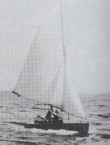 He designed and built his first boat, the performance dinghy Rusheen, while still a schoolboy. She is seen here sailing on Lough Melvin, where the family spent part of several summers