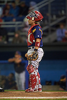 State College Spikes catcher Jose Godoy (35) during a game against the Batavia Muckdogs August 23, 2015 at Dwyer Stadium in Batavia, New York.  State College defeated Batavia 5-3.  (Mike Janes/Four Seam Images)