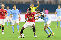 Houston, TX - Thursday July 20, 2017: Paul Pogba and Phil Foden during a match between Manchester United and Manchester City in the 2017 International Champions Cup at NRG Stadium.