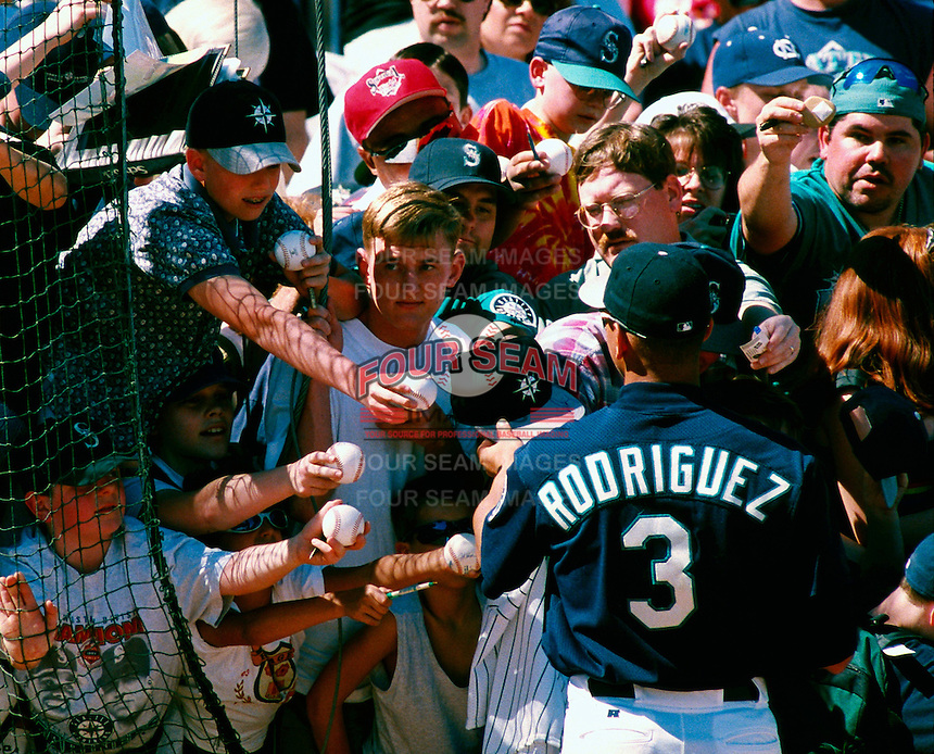 Alex Rodriguez of the Seattle Mariners participates in a Major League Baseball Spring Training game during the 1998 season in Phoenix, Arizona. (Larry Goren/Four Seam Images)