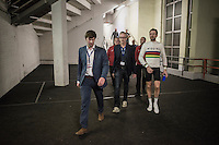 2016 Gent 6 winner Sir Bradley Wiggins (GBR/Wiggins) escorted to the post-race press conference