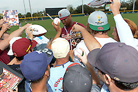 Florida State Seminoles designated hitter / relief pitcher Jameis Winston (44) signs autographs before a game against the South Florida Bulls on March 5, 2014 at Red McEwen Field in Tampa, Florida.  Florida State defeated South Florida 4-1.  (Mike Janes/Four Seam Images)
