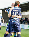 Forfar's Dale Hilson celebrates with Gavin Swankie (10) after he scores their first goal.