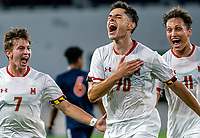 WASHINGTON, DC - SEPTEMBER 6: Maryland midfielder Brayon Padilla (70) after scoring the winning goal celebrates with forward Hunter George (7) and  midfielder Malcolm Johnston (11) during a game between University of Virginia and University of maryland at Audi Field on September 6, 2021 in Washington, DC.
