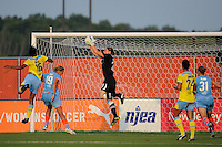 Sky Blue FC goalkeeper Jenni Branam (23) grabs a pass. Sky Blue FC defeated the Philadelphia Independence 2-0 during a Women's Professional Soccer (WPS) match at Yurcak Field in Piscataway, NJ, on July 23, 2011.