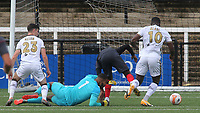 James Alabi scores Bromley's fourth goal after a defensive mix up during Bromley vs Brentford B, Friendly Match Football at Hayes Lane on 3rd October 2020