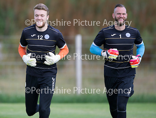 St Johnstone Training…29.07.16<br />Keepers Zander Clark and Alan Mannus during training this morning at McDiarmid Park<br />Picture by Graeme Hart.<br />Copyright Perthshire Picture Agency<br />Tel: 01738 623350  Mobile: 07990 594431