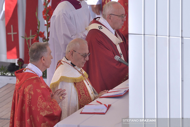 Spanish Cardinal Luis Francisco Ladaria Ferrer.Iraqi Cardinal  Louis Raphael I Sako patriarch of Babylon.Pope Francis during the solemn mass to celebrate the feast of Saint Peter and Saint Paul with the new Cardinals and the new Metropolitan Archbishops on June 29, 2018 in Saint Peter's square at the Vatican.