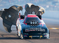 Oct 4, 2020; Madison, Illinois, USA; NHRA funny car driver Tommy Johnson Jr during the Midwest Nationals at World Wide Technology Raceway. Mandatory Credit: Mark J. Rebilas-USA TODAY Sports
