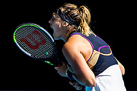 14th February 2021, Melbourne, Victoria, Australia; Aryna Sabalenka of Belarus celebrates after winning a game during round 4 of the 2021 Australian Open on February 14 2020, at Melbourne Park in Melbourne, Australia.