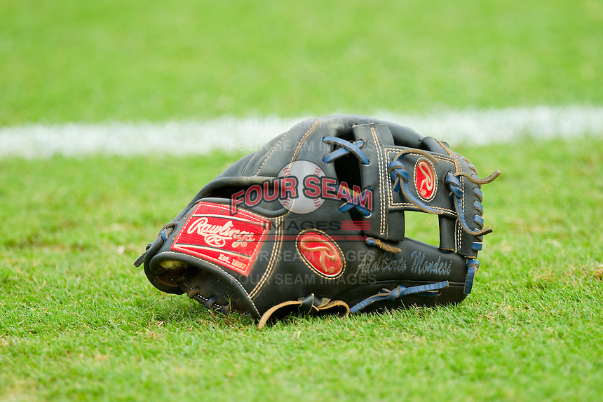 Raul Mondesi' baseball glove sits on the grass prior to the South Atlantic League game between the Lexington Legends and the Kannapolis Intimidators at CMC-Northeast Stadium on July 31, 2013 in Kannapolis, North Carolina.  The Intimidators defeated the Legends 3-2.  (Brian Westerholt/Four Seam Images)