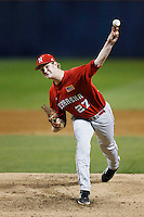 Zach Hirsch #27 of the Nebraska Cornhuskers pitches against the Cal State Fullerton Titans at Goodwin Field on February 16, 2013 in Fullerton, California. Cal State Fullerton defeated Nebraska 10-5. (Larry Goren/Four Seam Images)