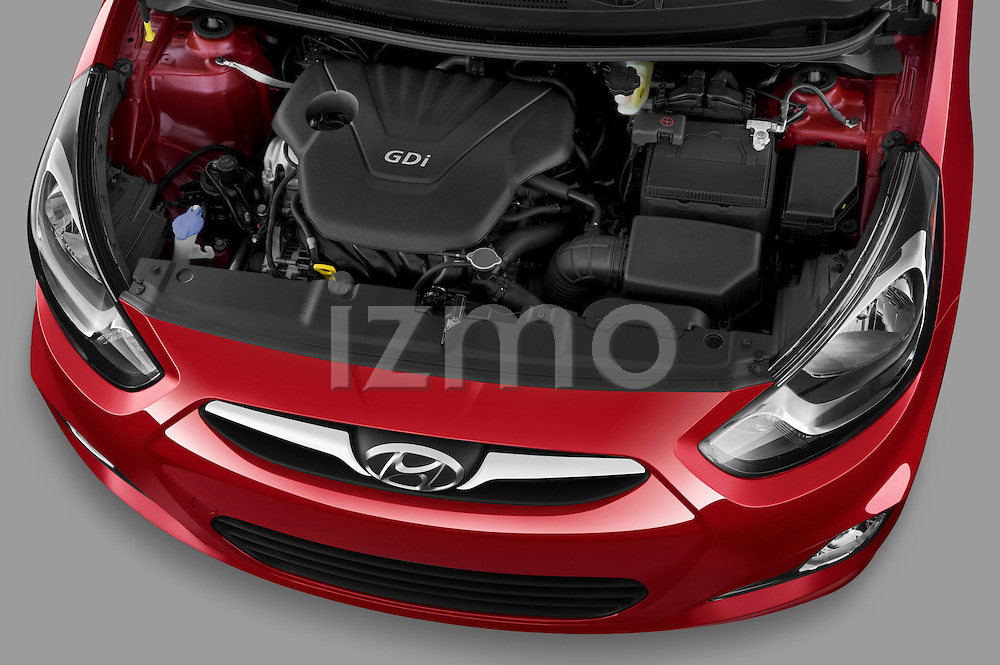 High angle engine detail of a 2012 Hyundai Accent GLS Sedan .