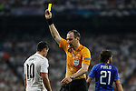 Real Madrid´s James Rodriguez receives a yellow card during the Champions League semi final soccer match between Real Madrid and Juventus at Santiago Bernabeu stadium in Madrid, Spain. May 13, 2015. (ALTERPHOTOS/Victor Blanco)