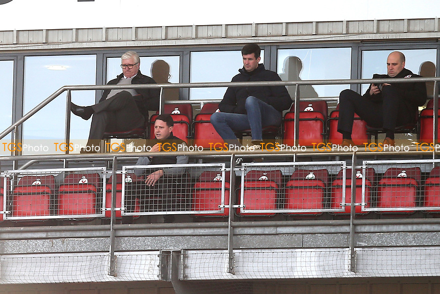 Leyton Orient manager Ross Embleton (front row) looks on during Leyton Orient vs Port Vale, Sky Bet EFL League 2 Football at The Breyer Group Stadium on 20th February 2021