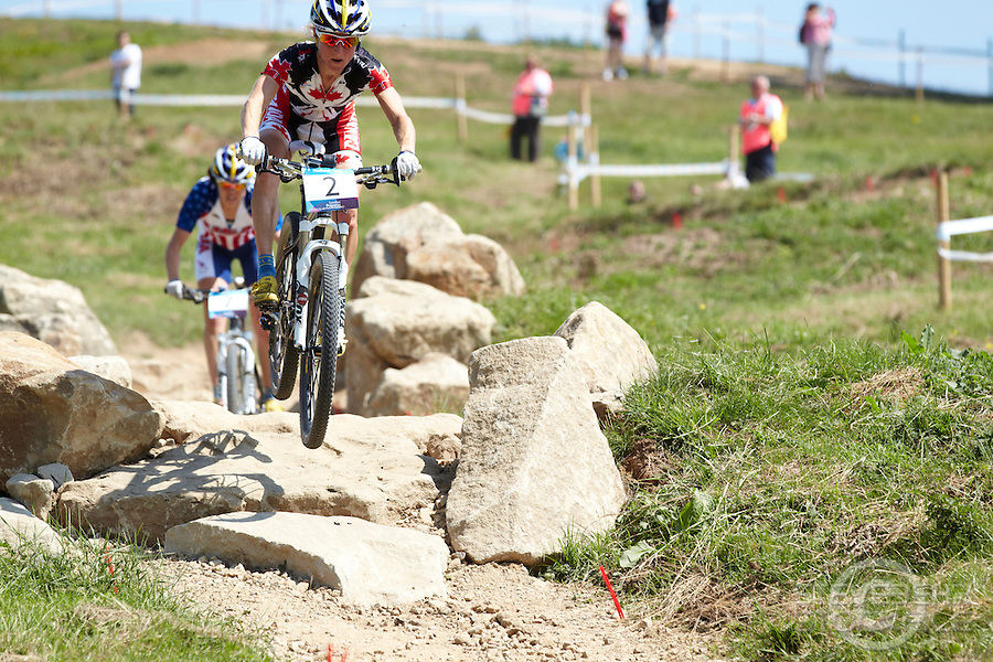 Catharine Pendrel  , Canada  . London Prepares Mountain Bike Olympic Test Event , Hadleigh Farm , Essex , July 2011 pic copyright Steve Behr / Stockfile