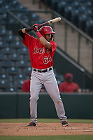 AZL Angels first baseman Bernabe Camargo (64) at bat during an Arizona League game against the AZL Diamondbacks at Tempe Diablo Stadium on June 27, 2018 in Tempe, Arizona. The AZL Angels defeated the AZL Diamondbacks 5-3. (Zachary Lucy/Four Seam Images)