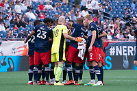 FOXBOROUGH, MA - JULY 25: New England Revolution starting eleven before a game between CF Montreal and New England Revolution at Gillette Stadium on July 25, 2021 in Foxborough, Massachusetts.