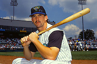 Trenton Thunder outfielder Trot Nixon prior to a game at Waterfront Park in Trenton, New Jersey during the 1996 season.  (Ken Babbitt/Four Seam Images)