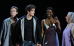 """Brent Carver, Orlando Bloom, Condola Rashad and Jayne Houdyshell during the """"Romeo And Juliet"""" On Broadway First Performance Curtain Call at the Richard Rodgers Theatre in New York City on 8/24/2013"""