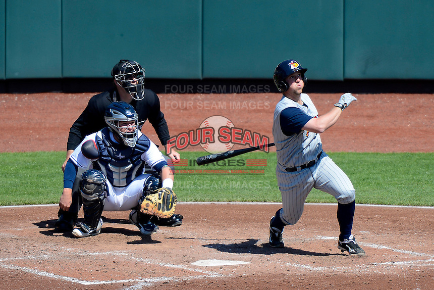 Toledo Mudhens catcher Bryan Holaday #16 at bat in front of catcher Roberto Perez #43 and umpire Max Guyll during a game against the Columbus Clippers on April 22, 2013 at Huntington Park in Columbus, Ohio.  Columbus defeated Toledo 3-0.  (Mike Janes/Four Seam Images)
