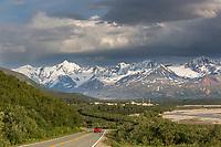 Trans Alaska oil pipeline pump station in the Alaska Range mountains.
