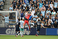 KANSAS CITY, KS - AUGUST 10: Rodolfo Cota #30 Club Leon catches the ball during a game between Club Leon and Sporting Kansas City at Children's Mercy Park on August 10, 2021 in Kansas City, Kansas.