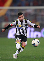 Calcio, Serie A: Roma vs Udinese. Roma, stadio Olimpico, 17 marzo 2014.<br /> Udinese forward Antonio Di Natale kicks the ball during the Italian Serie A football match between AS Roma and Udinese at Rome's Olympic stadium, 17 March 2014.<br /> UPDATE IMAGES PRESS/Isabella Bonotto