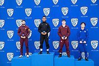 STANFORD, CA - March 7, 2020: Joshua Kramer of Arizona State University, Devan Turner of Oregon State University, Paul Bianchi of Little Rock, and Cole Reyes of Cal State Bakersfield receive awards during the 2020 Pac-12 Wrestling Championships at Maples Pavilion.