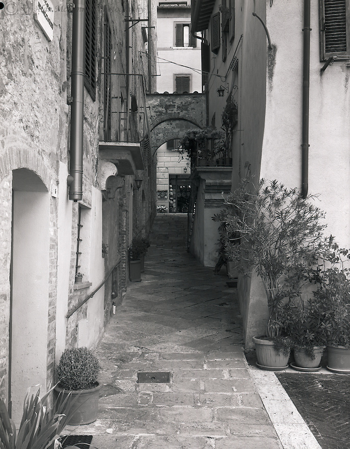 """""""Exploring a Back Alley in Montepulciano""""<br /> Montepulciano, Italy<br /> 2015<br /> <br /> An interesting alley can be found in the medieval town of Montepulciano.<br /> <br /> 4 x 5 Large Format Film"""