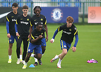 Dion Rankine and Brodi Hughes of Chelsea U19's sprint upfield in the pre-match warm up during Chelsea Under-19 vs FC Zenit Under-19, UEFA Youth League Football at Cobham Training Ground on 14th September 2021