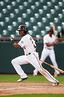 Bowie Baysox left fielder Julio Borbon (24) at bat during the second game of a doubleheader against the Akron RubberDucks on June 5, 2016 at Prince George's Stadium in Bowie, Maryland.  Bowie defeated Akron 12-7.  (Mike Janes/Four Seam Images)