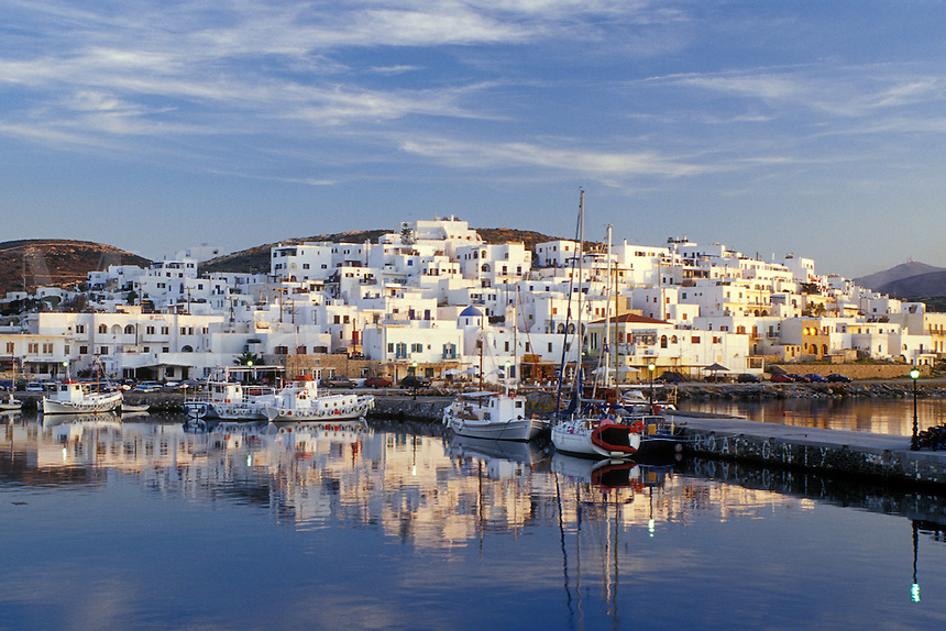 Paros, Greece, Greek Islands, Naoussa, Cyclades, Europe, Fishing boats docked in Naoussa Harbor on Paros Island on the Aegean Sea.