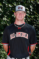 Pitcher Hayden Hurst #28 poses for a photo before the Under Armour All-American Game at Wrigley Field on August 13, 2011 in Chicago, Illinois.  (Mike Janes/Four Seam Images)