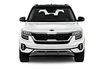 Car photography straight front view of a 2021 KIA Seltos SX 5 Door SUV Front View