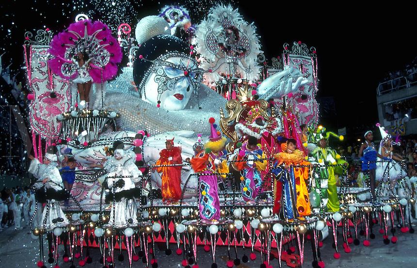 An elaborate Carnivale float with costumed dancers. Rio De Janeiro, Brazil.