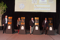 (Left to right) Steve Bartkowshi, Brandi Chastain, Roger Maltbie and Willy T. Ribbs at the San Jose Sports Hall of Fame induction ceremony at the HP Pavilion on Nov. 14, 2012.