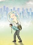 Illustrative image of businessman carrying light bulb with dollar symbol representing profit