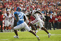 Arkansas wide receiver Tyson Morris (19) carries the ball, Saturday, October 9, 2021 during the fourth quarter of a football game at Vaught Hemingway Stadium in Oxford, Miss. Check out nwaonline.com/211010Daily/ for today's photo gallery. <br /> (NWA Democrat-Gazette/Charlie Kaijo)