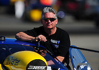Feb. 10, 2012; Pomona, CA, USA; NHRA pro stock driver Rodger Brogdon during qualifying at the Winternationals at Auto Club Raceway at Pomona. Mandatory Credit: Mark J. Rebilas-