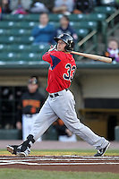 Pawtucket Red Sox outfielder Daniel Nava #33 during a game against the Rochester Red Wings at Frontier Field on April 13, 2012 in Rochester, New York.  Pawtucket defeated Rochester 4-3.  (Mike Janes/Four Seam Images)