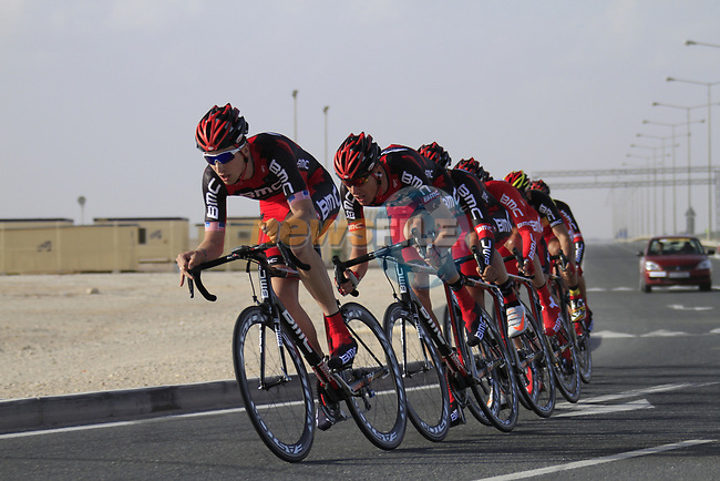 BMC Racing Team led by Taylor Phinney (USA) in action during the 2nd Stage of the 2012 Tour of Qatar an 11.3km team time trial at Lusail Circuit, Doha, Qatar. 6th February 2012.<br /> (Photo Eoin Clarke/Newsfile)