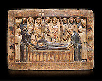 Gothic Catalan marble relief sculpture from the tomb of Margarida Cadell, died 1308, from the convent of Sant Domenee de Puigcerda, Cerdanya, Spain.  National Museum of Catalan Art, Barcelona, Spain, inv no: MNAC  4366. Against a black background.