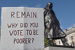 Peoples Vote Campaign demonstration Remain in Europe poster  Churchill statue Brexit Super Saturday 19 October 2019  Parliament Square London UK.